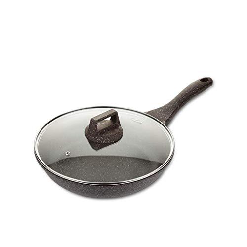 SMEJS Revêtement en céramique à base de pierre for poêle à frire antiadhésive, Poêle à frire ronde en dérivé de pierre avec poignée en inox, for gaz, électricité et céramique (Size : 28cm)