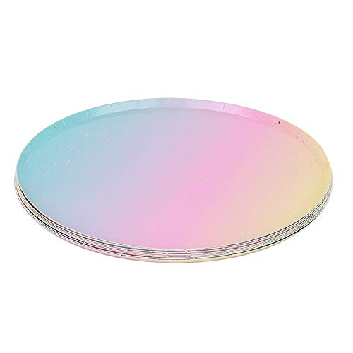 Discover Bargain Disposable Tableware, Disposable Paper Plate 8pcs Party Tableware Round Plate 9in Paper Plate Disposable for Party BBQ Afternoon Tea
