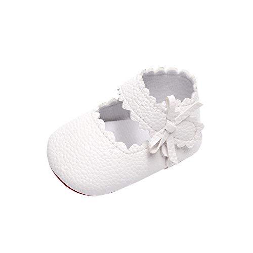 Mädchen Krabbelschuhe Bogen Lauflernschuhe mit weichen Sohlen Flache Hausschuhe rutschfest Atmungsaktiv Babys Schuhe (EU:19, Weiß)
