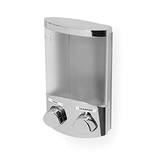 Compactor Dispenser Sapone Doppio Adesivo a Parete, capacità 2 x 310 ml, 12 x 8 x 19,5 cm, Acciaio Cromato Con Finitura in plastica, RAN6016