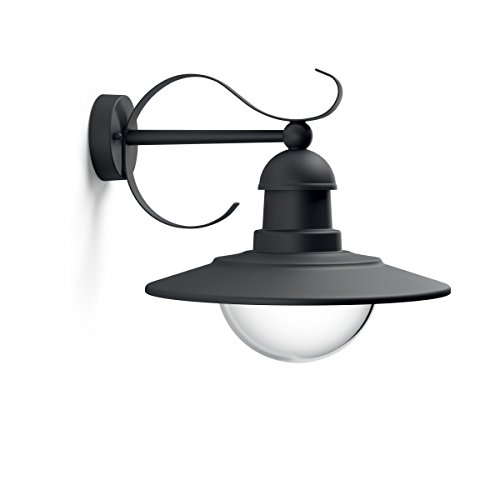 Philips Lighting Wall Light Topiary Lampada da Parete Plafoniera Illuminazione Giardino Ambienti Esterni Design Vintage Black Edition, Nickel, 30 x 35 x 29 cm