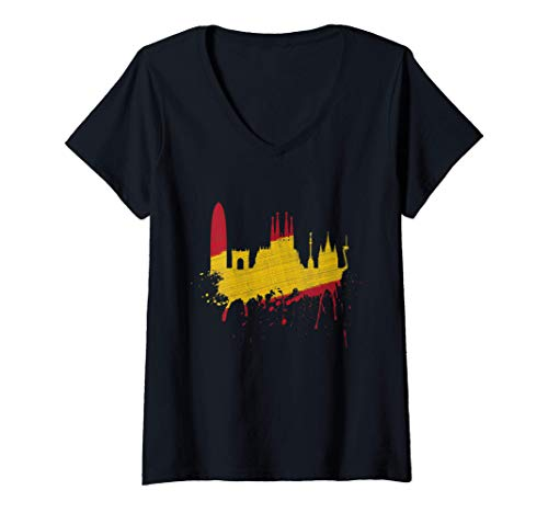 Damen Barcelona Skyline Spanien Flagge Fahne Liebe Sagrada Familia T-Shirt mit V-Ausschnitt