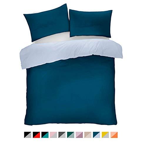 Lions Microfibre Duvet Set Single Double King Quilt Cover and Pillow Cases Reversible Plain Colours Easy Care Bedding (Navy Blue, Double)