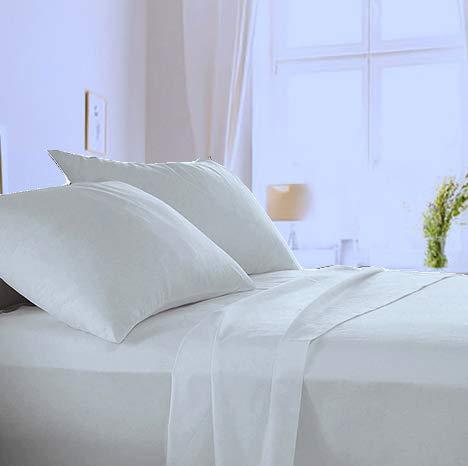 Made in Italy - Completo Lenzuola + 2 Federe per letto Matrimoniale in puro cotone di alta qualità 100% Made in Italy (sotto con Angoli H 20cm) Angel's (Perla, Matrimoniale)