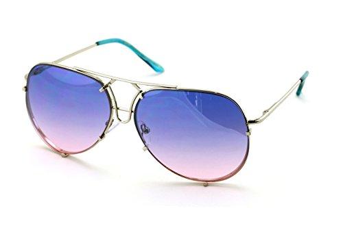 V.W.E. Große Bunte Gradientenlinse Metall Pilotenbrille Für Herren (Blau/Rosa)