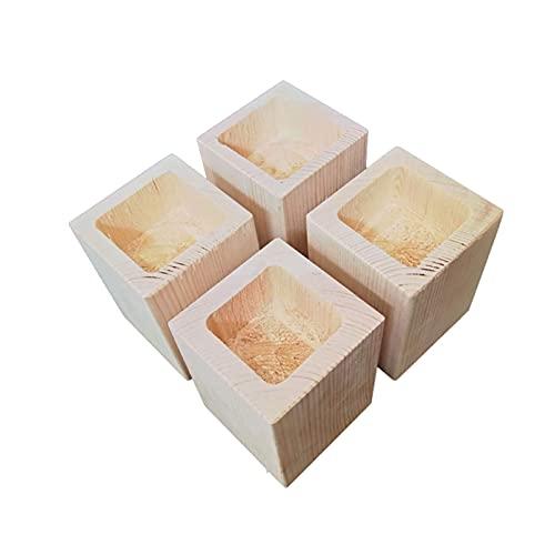 MFLASMF Juego de 4 Patas de Muebles Elevador de Muebles de Madera para el hogar Elevador de Muebles con Orificio Cuadrado para Muebles de Cama Aumentar la Altura de los Muebles Elevador de