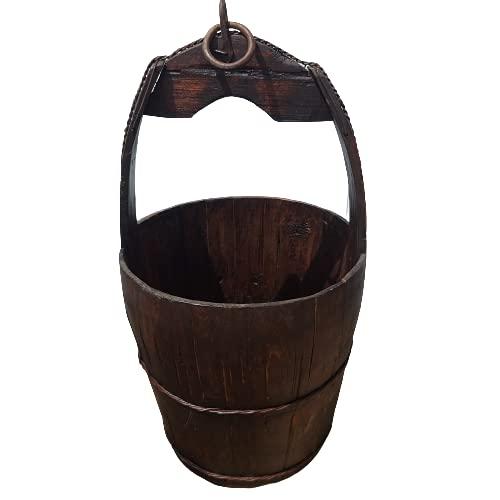 BRUNNENEIMER Alter Holzeimer Eimer [Hängen oder Stellen] Pflanzeimer Kübel Bottich Garten Brunnen Wassereimer Vintage Deko | jetzt dekorieren