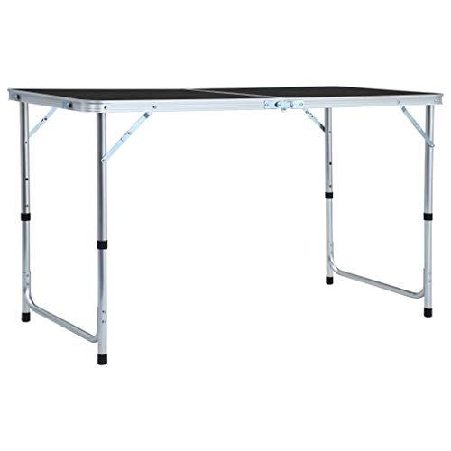 vidaXL Table Pliable de Camping Table de Jardin Table de Patio Table de Pique-Nique Table de Cuisine Extérieur Gris Aluminium 120x60 cm