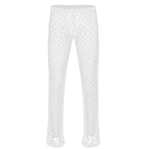 iiniim Herren Leggings Elastische Hose Transparent Tights Pants Reizwäsche Unterwäsche Unterhose M-XL Weiß XL