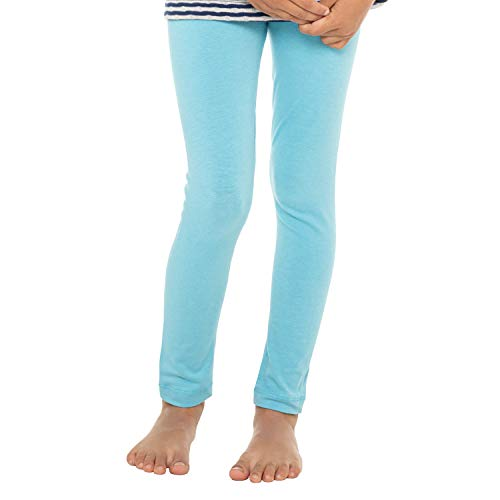 Celodoro Kinder Leggings, stretchige Jersey Hose aus Baumwolle - Hellblau 122-128