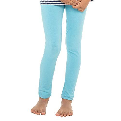 Celodoro Kinder Leggings, stretchige Jersey Hose aus Baumwolle - Hellblau 110-116