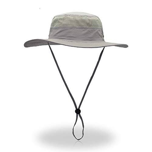 KPWIN Fishing Hat with Sun Protection UPF 50+ Waterproof Breathable Hunting Hiking Sun Hat Wide Brim Bucket Cap (Light Gray, One Size)