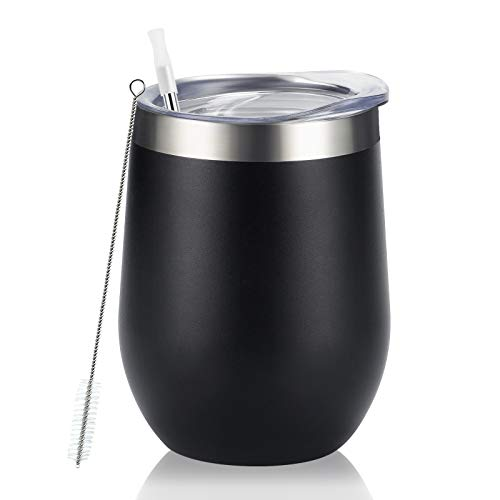 Stainless Steel Wine Tumbler 12Oz, Double Wall Vacuum Insulated Wine Tumbler with Lid and Straw, Stainless Steel Stemless Wine Glass for Wine, Coffee, Cocktails, Champaign, Ice Cream, Black