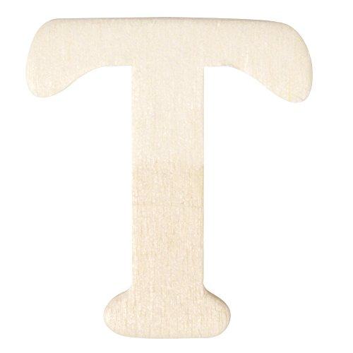Rayher 6161900 Holz-Buchstaben, 4 cm, T