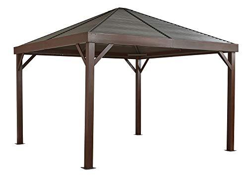 Sojag Aluminium Pavillon Überdachung South Beach Wood // 363x363 cm // Holzoptik-Pavillon und Gartenlaube mit Hard-Top Dach inkl. Moskitonetz