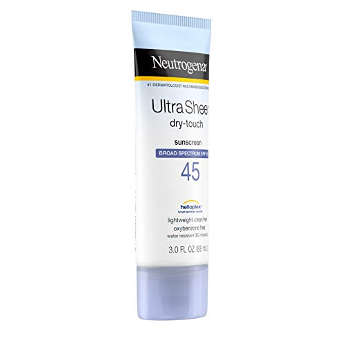 Neutrogena Ultra Sheer Dry-Touch Sunscreen Lotion, Broad Spectrum SPF 45 UVA/UVB Protection, Light, Water Resistant, Non-Comedogenic; Non-Greasy, Travel Size, 3 fl. oz