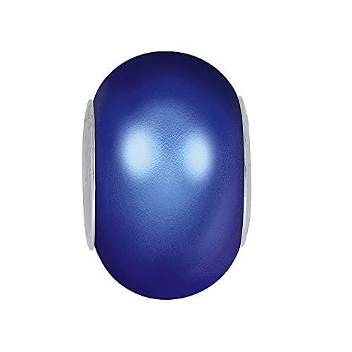 Swarovski BeCharmed Pearl (5890) - Cristal iridiscente de acero de perlas azul oscuro, 14 mm (Swarovski BeCharmed Pearl (5890) - Crystal iridescent Dark Blue Pearl Steel