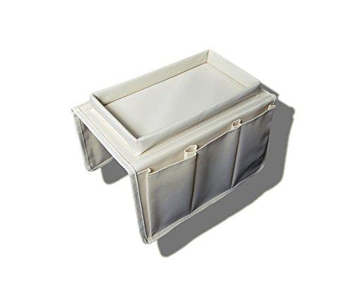 Dasking - Portaoggetti per bracciolo del divano, ottimo per telecomando e tazza da tè, Tessuto, beige, taglia unica