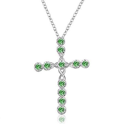 BJGCWY Collar con Colgante de Cruz Grande para Mujer, Collares de Boda para Mujer, Collar Largo de circonita de Color Plateado, 45 cm, Verde