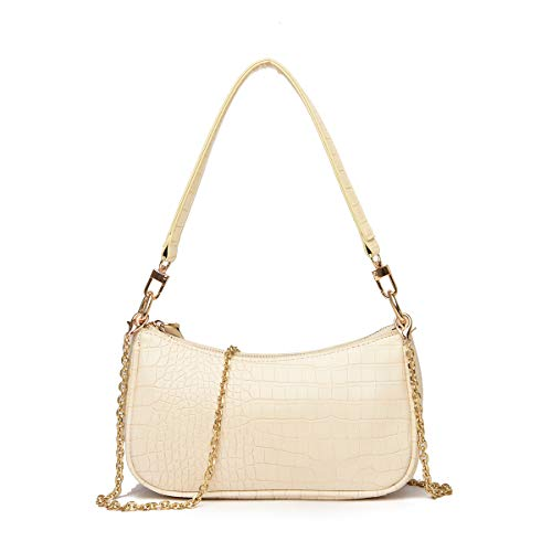 DOREAMALOE Retro Classic Clutch Shoulder Tote HandBag with Zipper Closure for Women (White)
