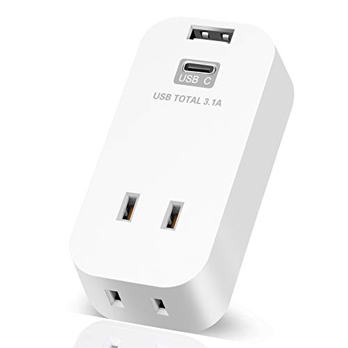 USB コンセント タップ 2AC口 2USBポート付き 3.1A(USB-A ×1 USB-C ×1) マルチ 電源タップ usb 充電タップ 一体式 USB アダプター マルチタップ コンセント タコ足 小型 軽量 コンパクト オフィス 自宅に最適過電保護 雷ガード トラッキング火災予防機能付き 直挿し PSE認証済 12ヶ月メーカー保証 (ホワイト)