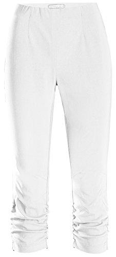 Stehmann Maria-530, stretchige Caprihose, seitlich gerafft Größe 36, Farbe weiß