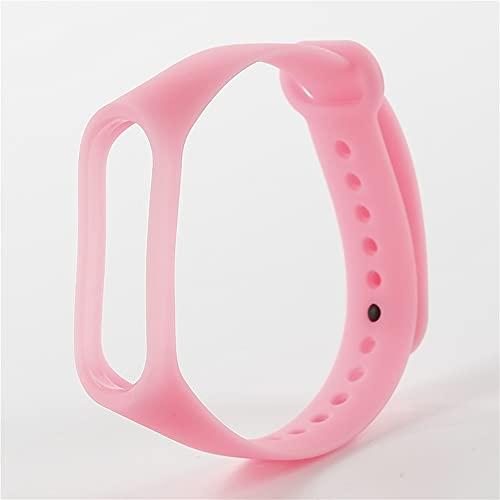 Correa de pulsera de silicona brillante luminosa para MI BAND 3 4 5 Smart Watch Bands Reemplazo Pulsera Correa Accesorios (Color : Pink, Size : For Mi Band 3 4)