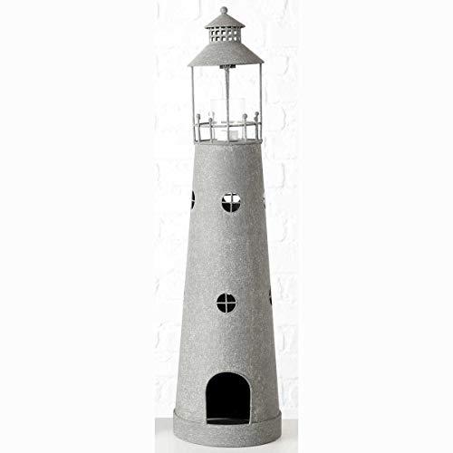 Windlicht Leuchtturm Metall Zink- Optik Teelichthalter Shabby Landhaus (Large)