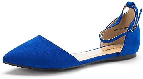 DREAM PAIRS Women's D'Orsay Ankle Strap Pointed Ballet Flats Pumps Shoes Flapointed-New Royal Blue Size 11 US/ 9 UK