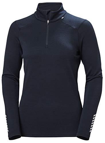 Helly Hansen Camiseta de Manga Larga para Mujer Merino Midweight 1/2 Zip Base Layer Top, Mujer, Parte Superior de la Base, 49377, Azul Marino, Extra-Large