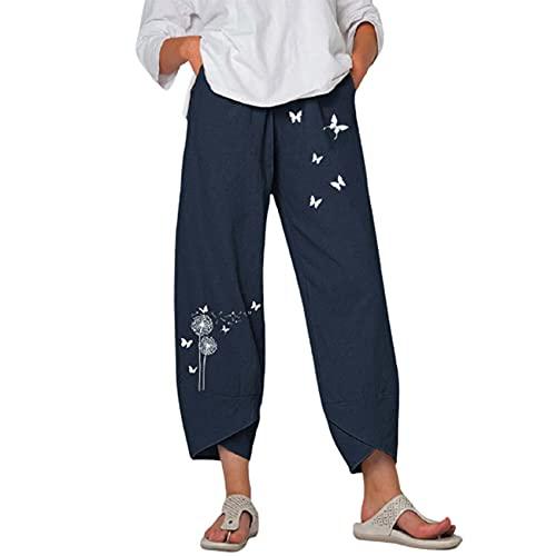 WJANYHN Pantalón Holgado Casual de Lino con Estampado de Mariposas Diente de león Mujer