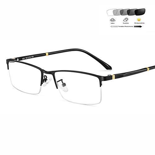HQMGLASSES Herrenultraleichten Halbrahmen Lesebrille - intelligente Sonnenbrille photochromen Anti-UV rechteckigen Metallrahmen asphärischen Linsen Harz Reader Dioptrien+ 0,5-+3,5,Schwarz,+2.0