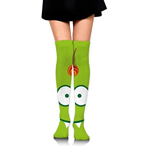 Calcetines altos para mujer, diseño de luna y rodilla, para botas altas