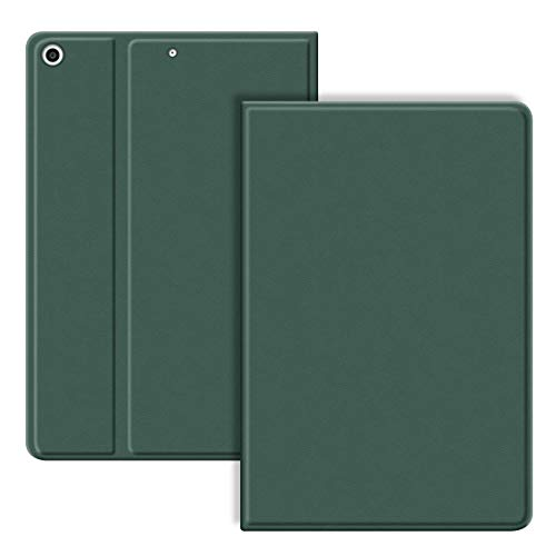 VAGHVEO Case for iPad 10.2' 2020/2019, iPad Air 10.5/Pro 10.5' Cover with Flexible Soft TPU Protective Back Cover, PU Leather Shockproof Smart Cases Shell[Auto Wake/Sleep] for iPad 7th Gen, Dark Green