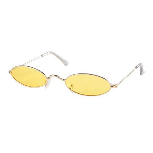 DAUERHAFT Gafas de Sol ovaladas de plástico y PC de Calidad para Mujer, para Conducir en Verano al Aire Libre y Deportes(Gold Frame Transparent Yellow)