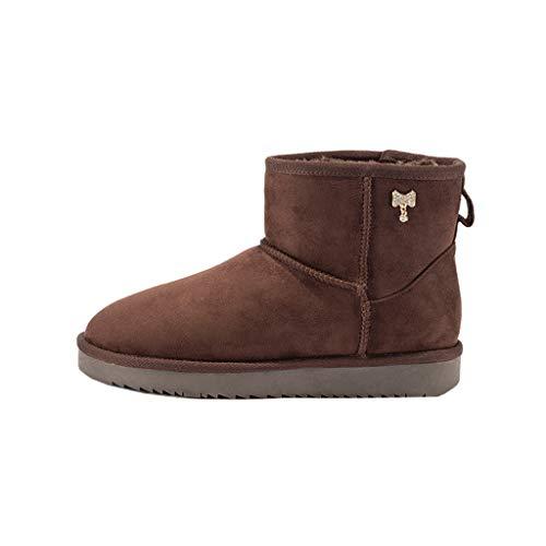 HEG Zapatos de Invierno de Nueva algodón de Las señoras de Moda de Cabeza Redonda, además de Terciopelo Cargadores Calientes de Las Mujeres Botas (Color : Brown, Size : 34)