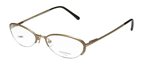 Vera Wang Epiphany Ii For Ladies/Young Women/Girls Designer Half-rim Titanium Crystals Spring Hinges Eyeglasses/Eye Glasses (52-17-140, Yellow Gold)