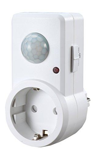 Garza Power - Detector de Movimiento Infrarrojos para Enchufes, Ángulo de Detección 120º, color Blanco
