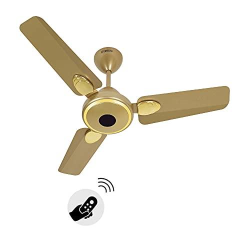 Atomberg Efficio+ 900mm BLDC motor Energy Saving Ceiling Fan with Remote Control (Metallic Gold)