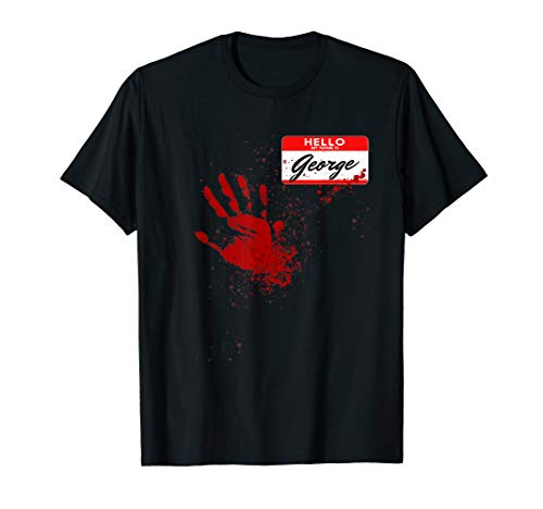 Mens Hello My Name Is George - Blood Hand - Scary Halloween T-Shirt
