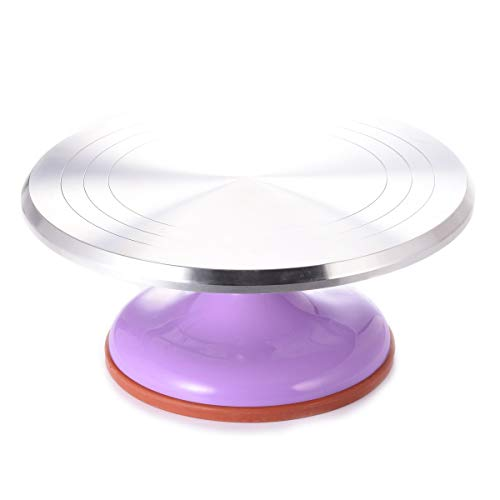 TMKEFFC 12 Inch Revolving Cake Turntable Aluminium Alloy Rotating Stand for Cake, Cupcake, Dessert Decorating Display Tool with Smooth Bearing and Non-Slipping ABS Rubber Bottom (Purple)