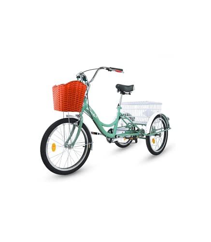 Riscko Triciclo para Adultos con 2 Cestas, 6 Velocidades, Asiento Y Manillar Ajustable Mod. Bep-14 Azul Turquesa Sin Montaje