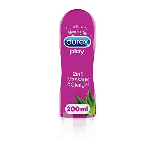 Durex Gleitgel Play 2-in-1 Massage Aloe Vera – Wasserbasiertes Gleitgel mit pflegenden Aloeveraextrakten für sinnliche Liebesmassagen – 1 x 200 ml im Spender