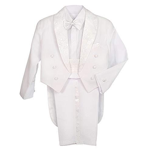 Lito Angels Conjunto de 5 piezas para chicos de esmoquin clásico con cola formal trajes de boda 001 011 - blanco - 12 -18 meses