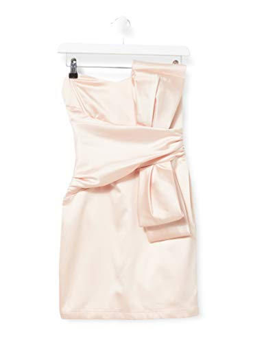 Amazon-Marke: TRUTH & FABLE Damen Schulterfreies Mini-Kleid aus Satin, Rosa (Pink), 38, Label:M