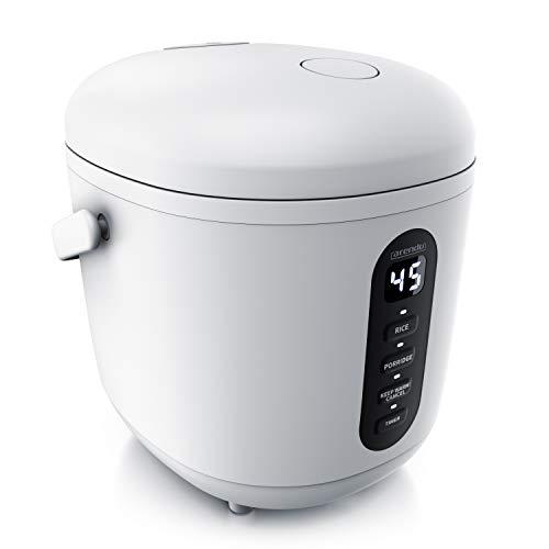 Arendo - Reiskocher klein 0,8L - 300 Watt - mit Messbecher und Reislöffel – 2 Kochprogramme – Timer – Warmhaltefunktion – LED-Anzeige – beidseitig beschichtet - spülmaschinen geeignet – mini - weiß