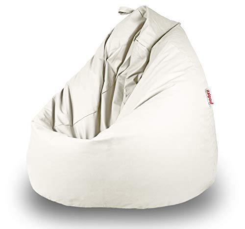 Italpouf - Puff Pera de Polipiel XXL 100 x 130 cm 500l con Funda Extraible Indoor Muy Resistente Moldeable con Relleno, 21 Colores (Blanco)