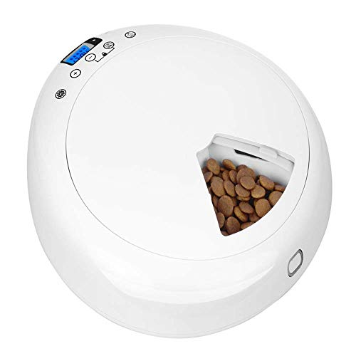 Niubiyacww White Rung Six Meals Automatic Feeder Belittled Pet Timing Food Feeder Intelligent Feeding Machine Battery Power Supply Wet Food Cats and Dogs Universal
