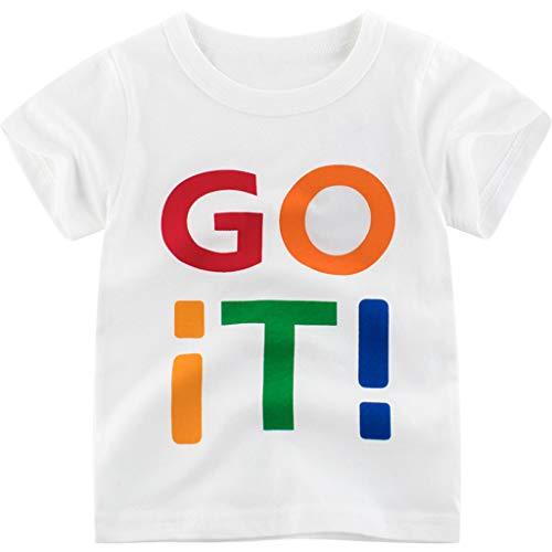 Anglewolf Baumwollmischung Jungen lacky Day Dinosaur T Baby Kurzarm T-Shirt 1-9Jahre Sommer T Shirts Männer Fun Shirt (rot,140)