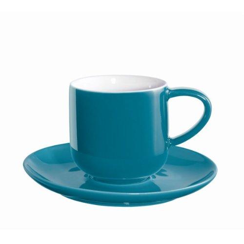 ASA Coppa Espressotassen, Keramik, Petrol/weiß, 5.8x5.8x5.6 cm, 4-Einheiten